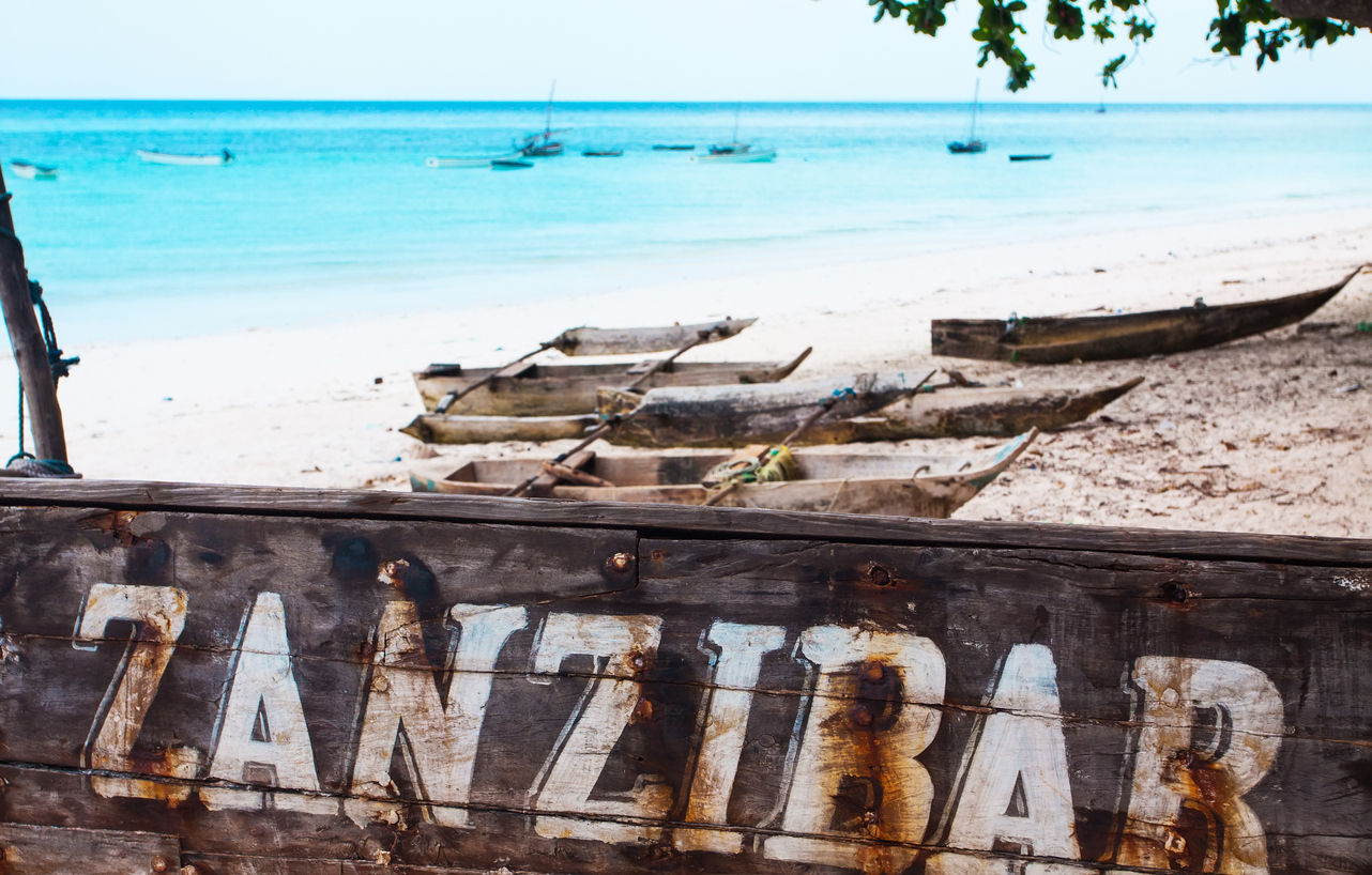 Abandoned white sand beach in the south of the island of Zanzibar/