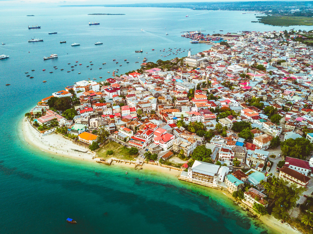 Stone Town, Zanzibar, z ptačí perspektivy.