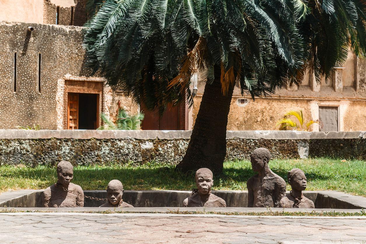 Stone Town: Památník Trhu sotroky ve Stone Town na ostrově Zanzibar, Tanzánie