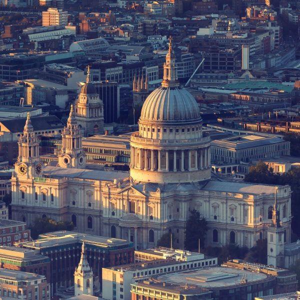 Letecký snímek katedrály svatého Pavla
