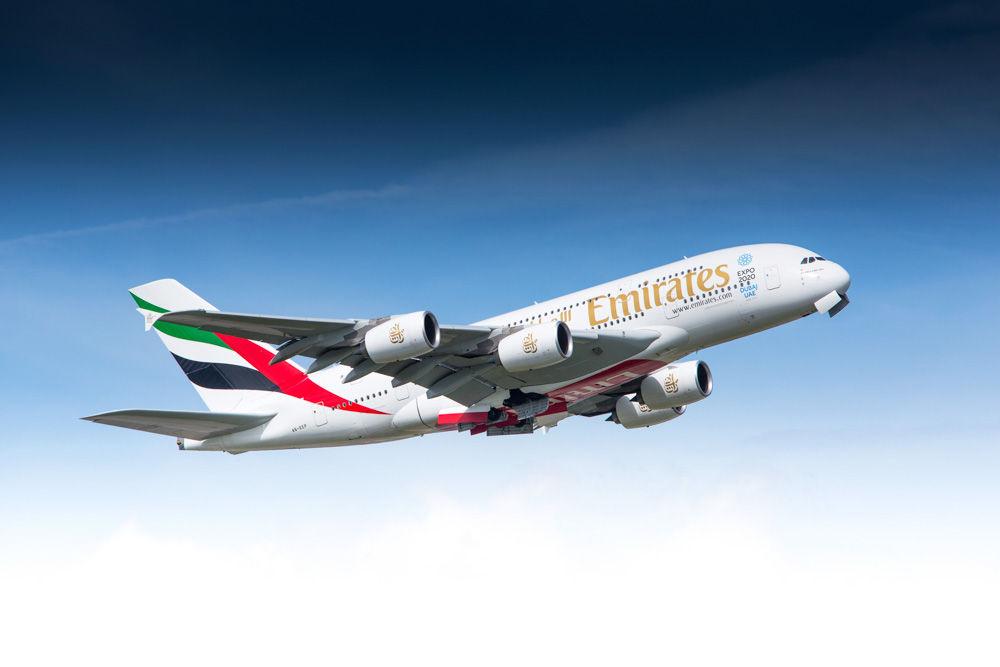 Zürich, Switzerland  May 08, 2014: Airbus A380 of Emirates Airline departing Zurich airport
