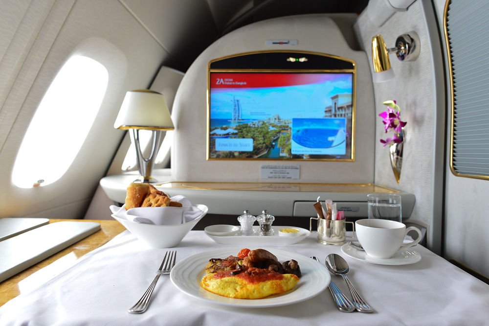 Dubai, United Arab Emirates  March 31, 2015: Emirates Airbus A380 first class private suite interior. Emirates is one of two flag carriers of the United Arab Emirates along with Etihad Airways and is based in Dubai.