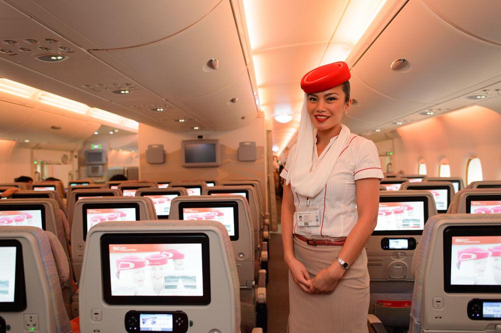 Hong Kong, Hong Kong SAR  March 9, 2015: Emirates Airbus A380 crew member. Emirates handles major part of passenger traffic and aircraft movements at the airport.