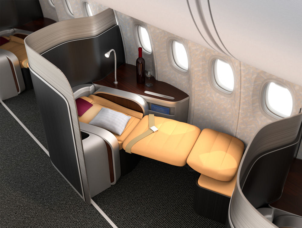 Close-up of luxurious business class seat with metallic silver partition. The seat laying down in flat position. 3D rendering image in original design.